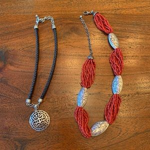 Set of 2 Necklaces, Beaded Chico's, Corded Pendant